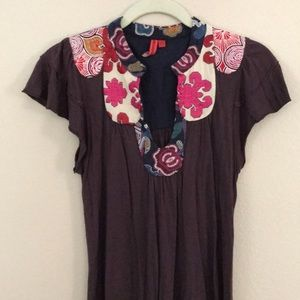 Anthropologie One Sept Embroidered Detailed Top